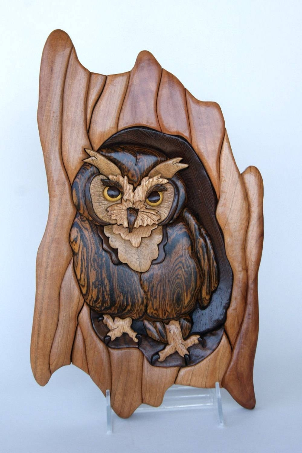 Screech Owl Intarsia Wall Hanging Wood Carving Wooden Bird With Regard To Best And Newest Wood Animal Wall Art (View 16 of 20)