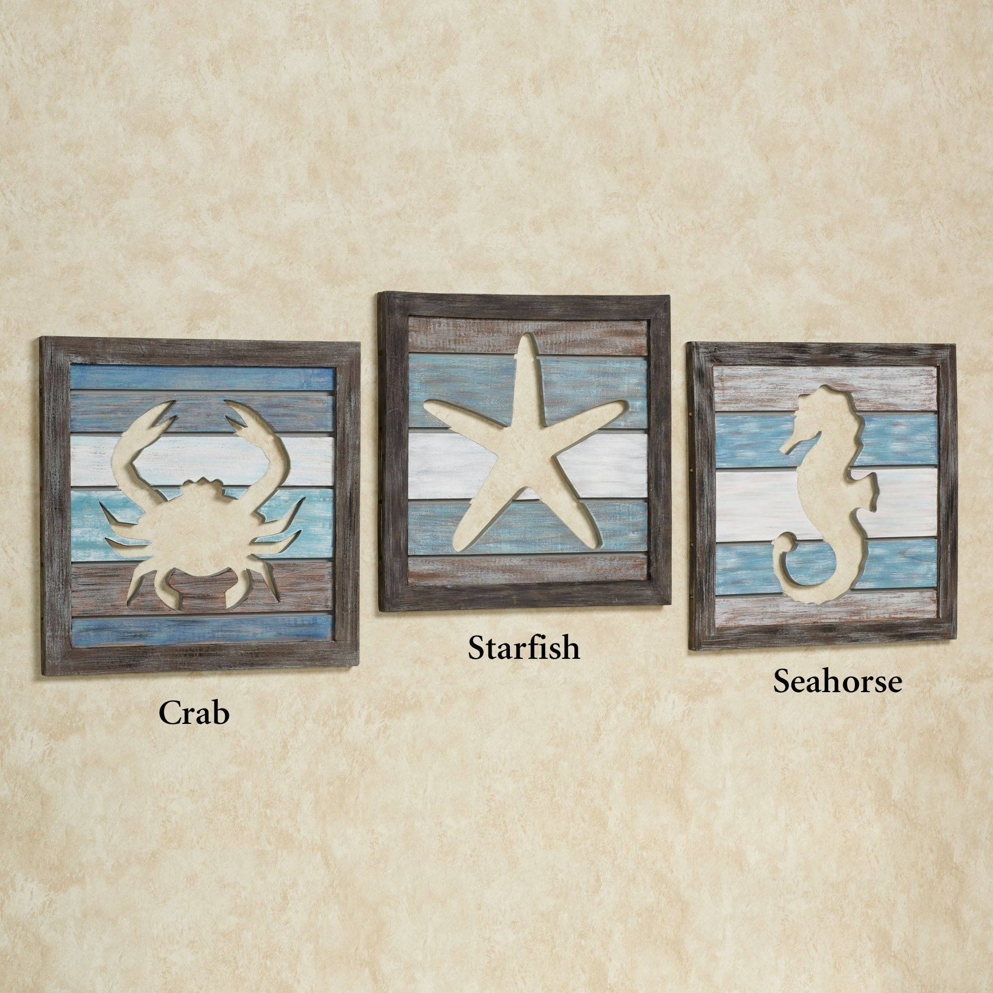 Sealife Cutout Slat Indoor Outdoor Coastal Wall Art In Most Recent Outdoor Coastal Wall Art (View 17 of 20)