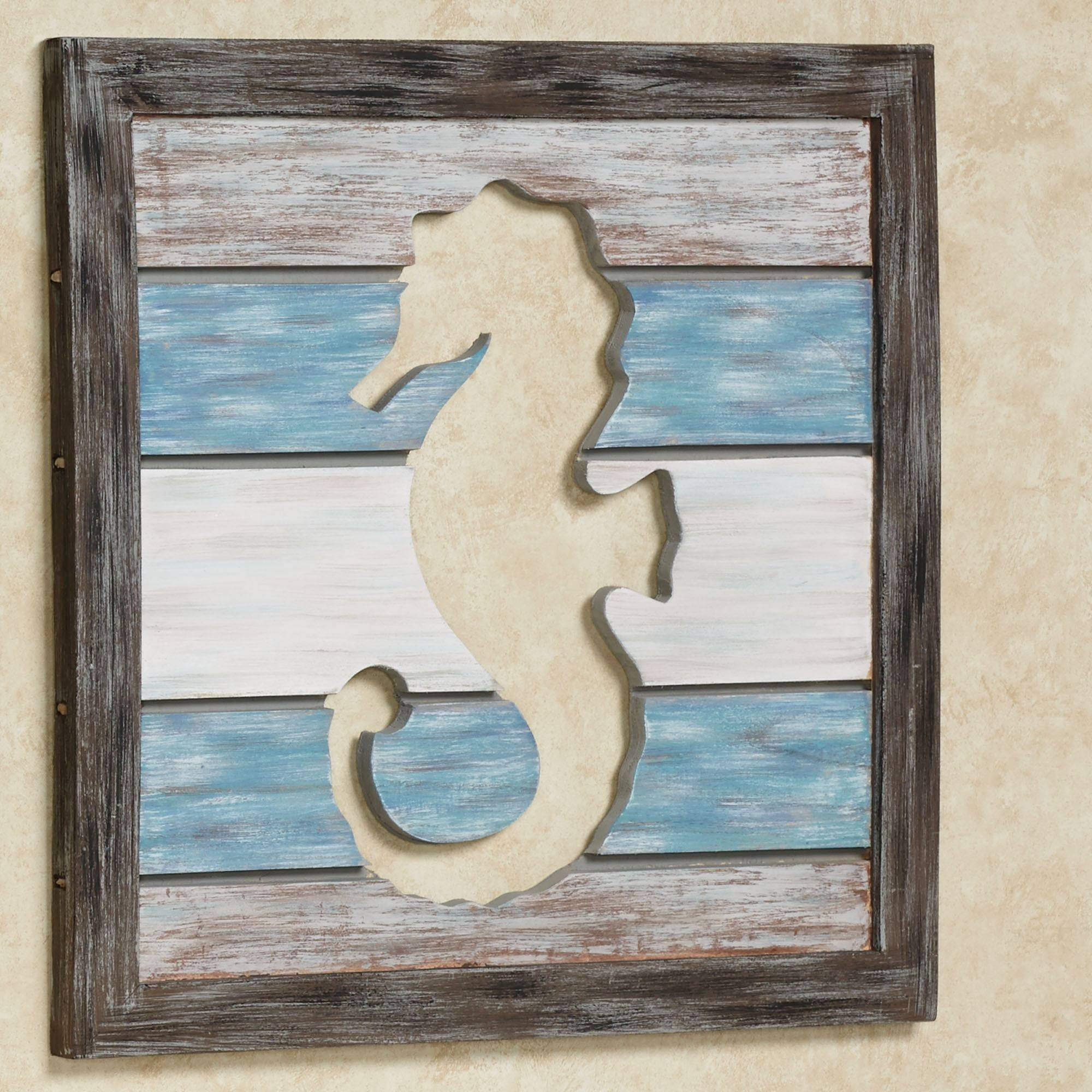 Sealife Cutout Slat Indoor Outdoor Coastal Wall Art Pertaining To Most Popular Outdoor Coastal Wall Art (View 18 of 20)