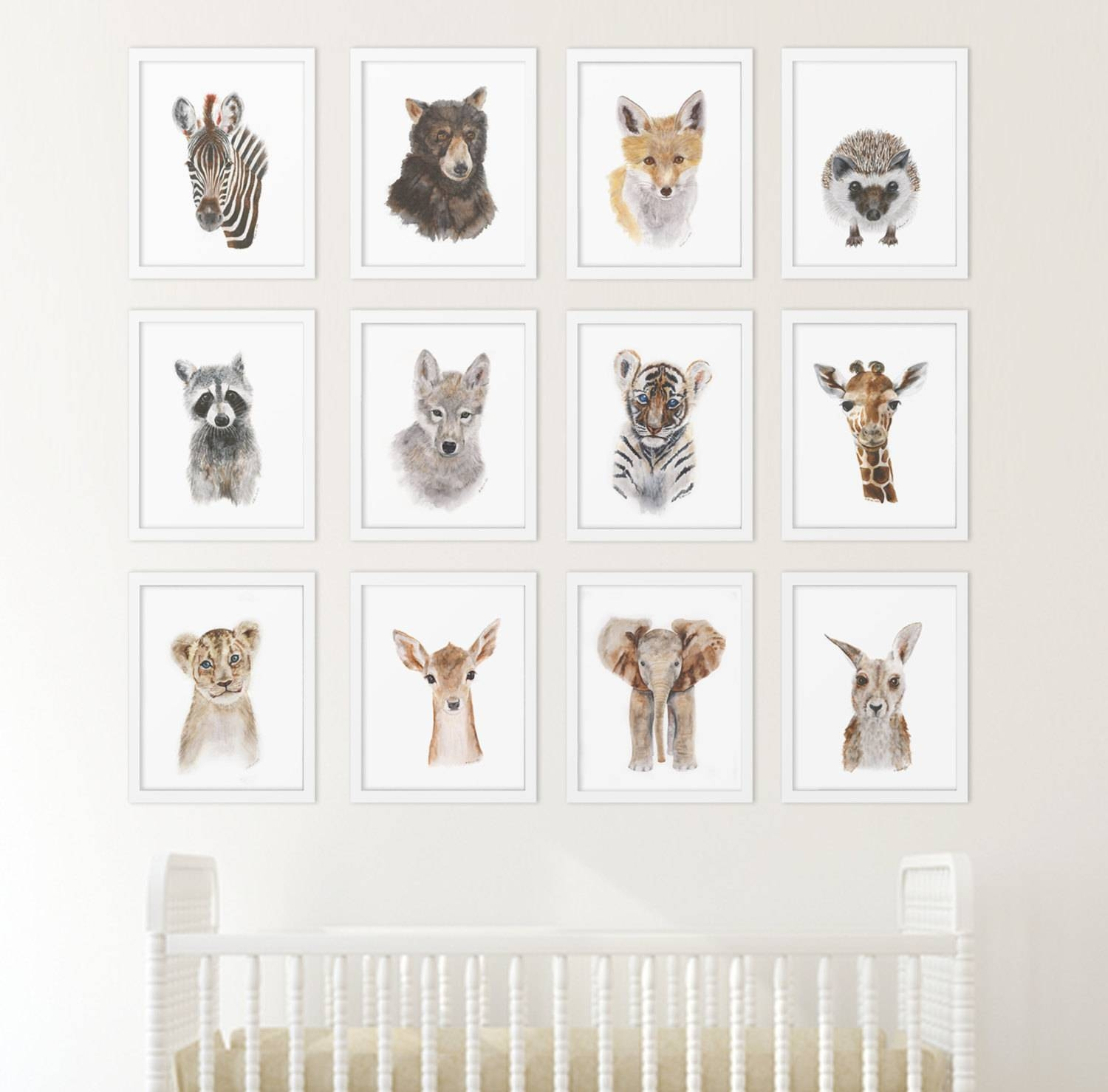 Set Of 12 Prints Animal Art Collection Nursery Art Home Inside Recent Baby Animal Wall Art (View 15 of 20)