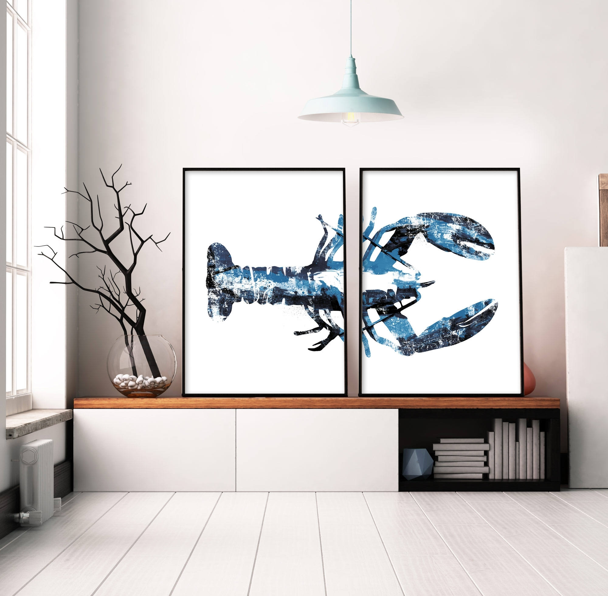 Set Of 2 Prints, Navy Blue Art, Lobster Print, Large Wall Art With Regard To 2017 Printable Abstract Wall Art (View 17 of 20)
