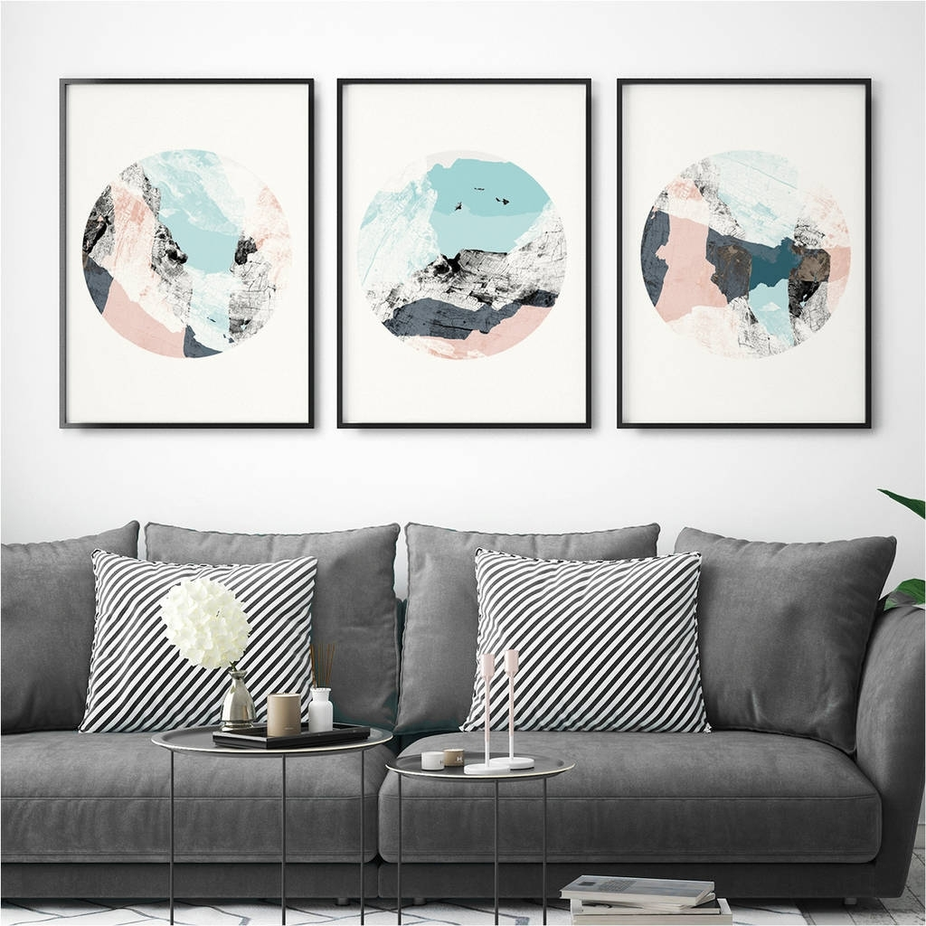Set Of Three Abstract Wall Art Printsbronagh Kennedy – Art With Regard To 2017 Abstract Wall Art Prints (Gallery 7 of 21)