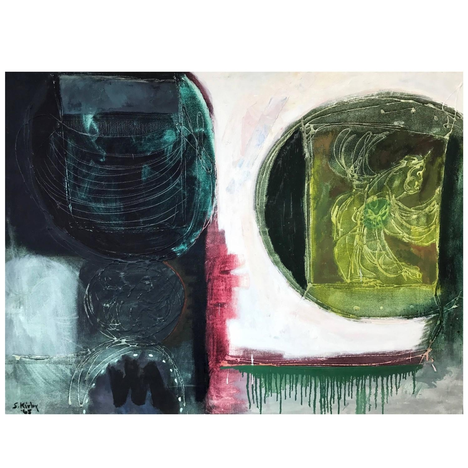 """Sheldon Kirby """"talisman X"""" Abstract Oil Painting For Sale At 1stdibs With Regard To Newest Kirby Abstract Wall Art (View 10 of 20)"""
