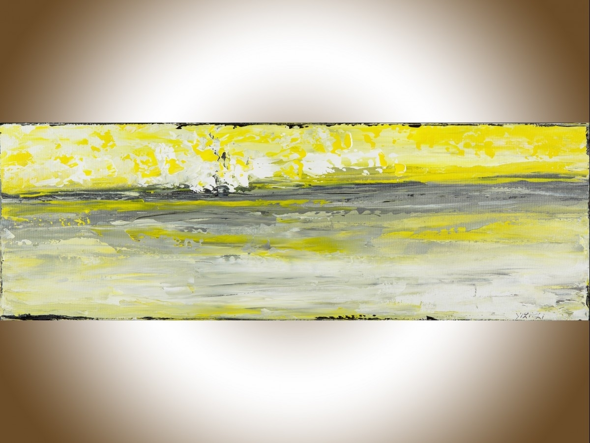 "Sky And Seaqiqigallery 36"" X 12"" Abstract Art Yellow Grey In Most Popular Yellow And Grey Abstract Wall Art (View 13 of 20)"