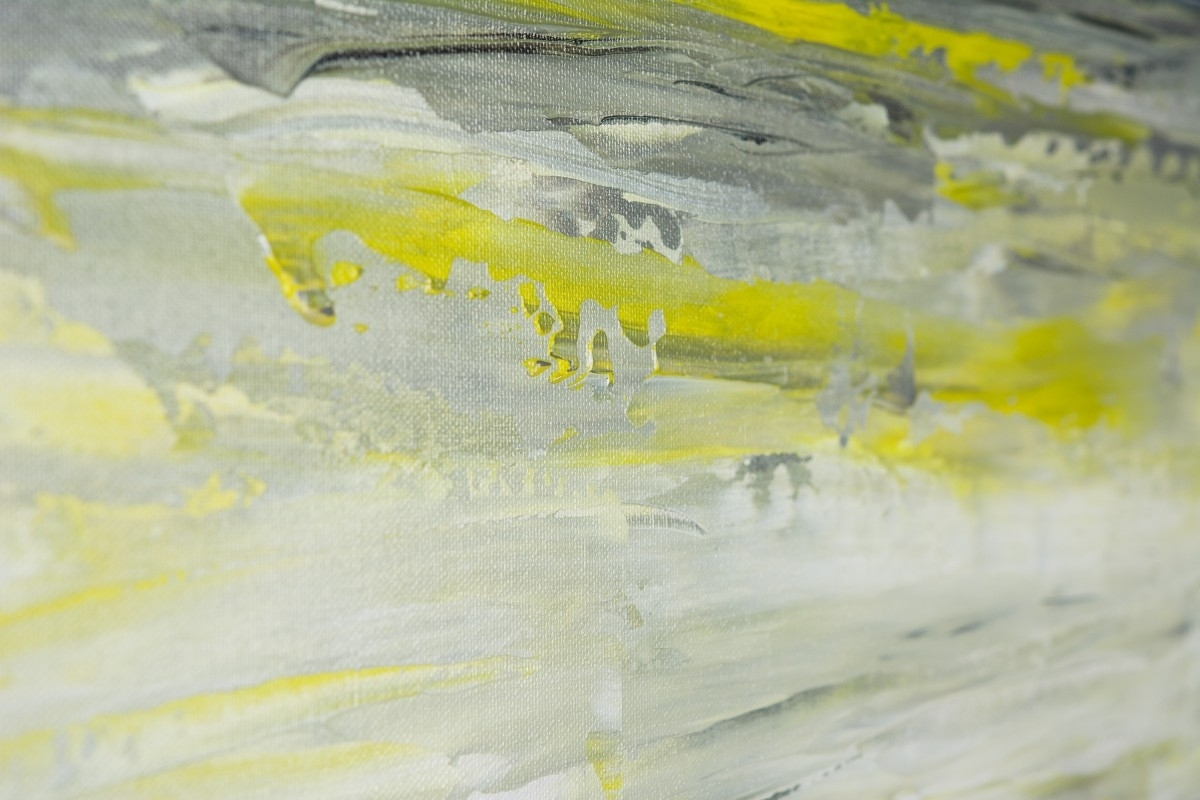 "Sky And Seaqiqigallery 36"" X 12"" Abstract Art Yellow Grey Within Best And Newest Yellow And Grey Abstract Wall Art (View 15 of 20)"