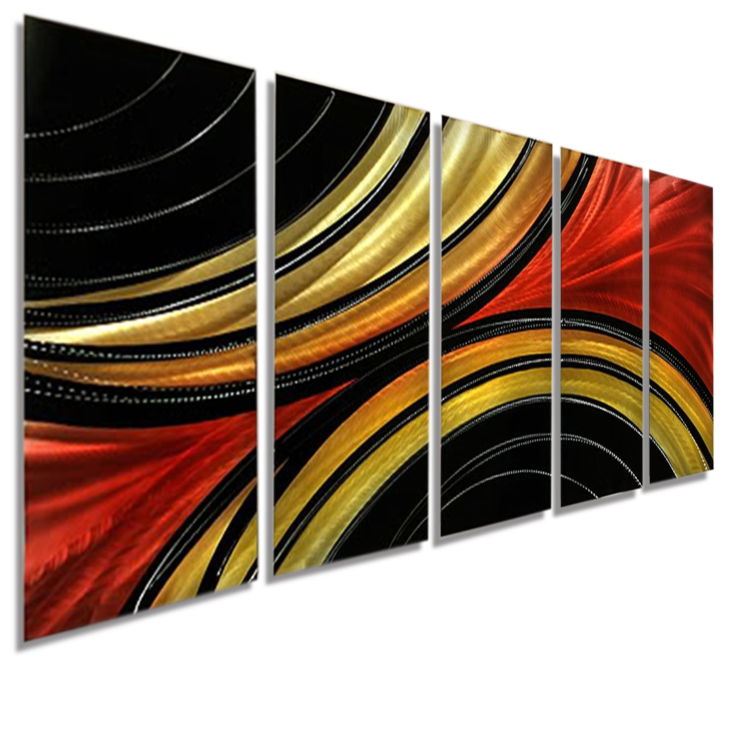 Solaris Xl – Massive Metal Abstract Red Black Gold Painting Wall Regarding Current Black And Gold Abstract Wall Art (View 10 of 20)