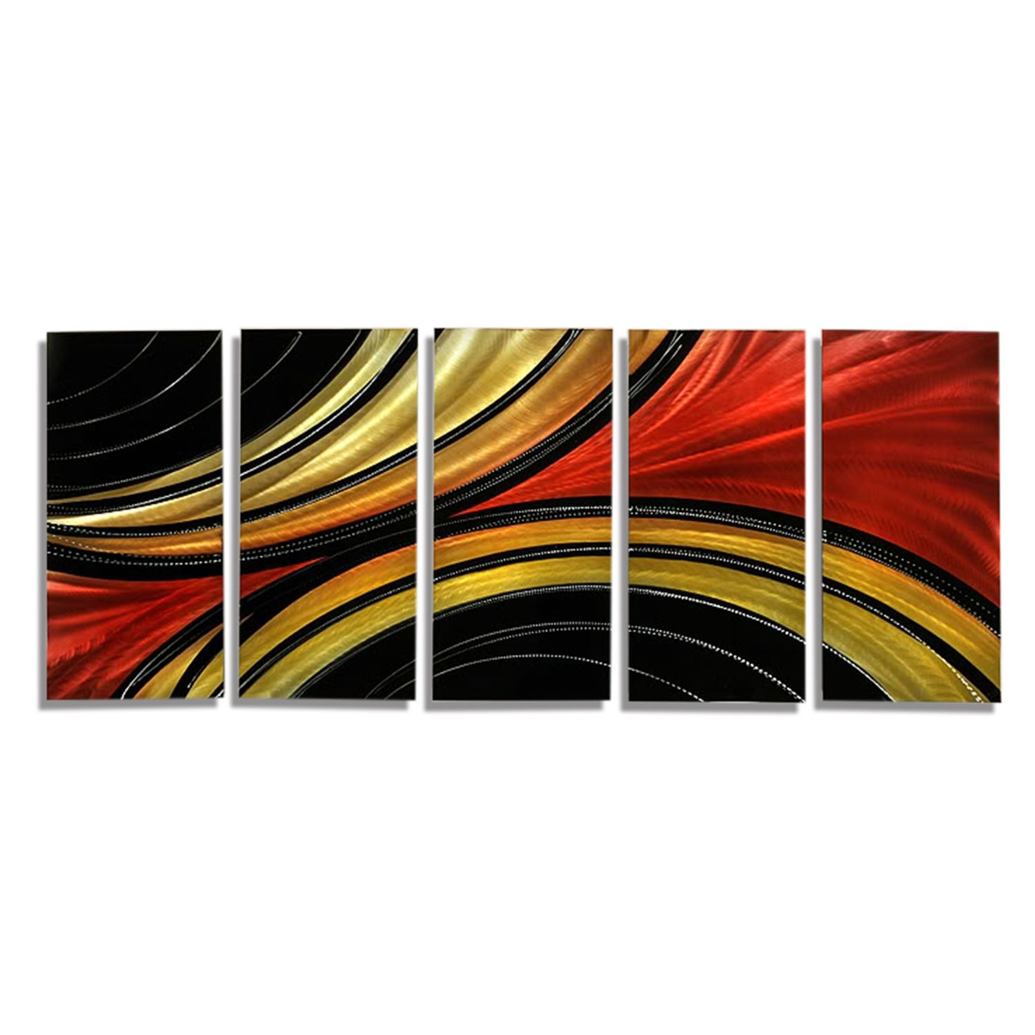Solaris Xl – Massive Metal Abstract Red Black Gold Painting Wall With Current Black And Gold Abstract Wall Art (View 11 of 20)