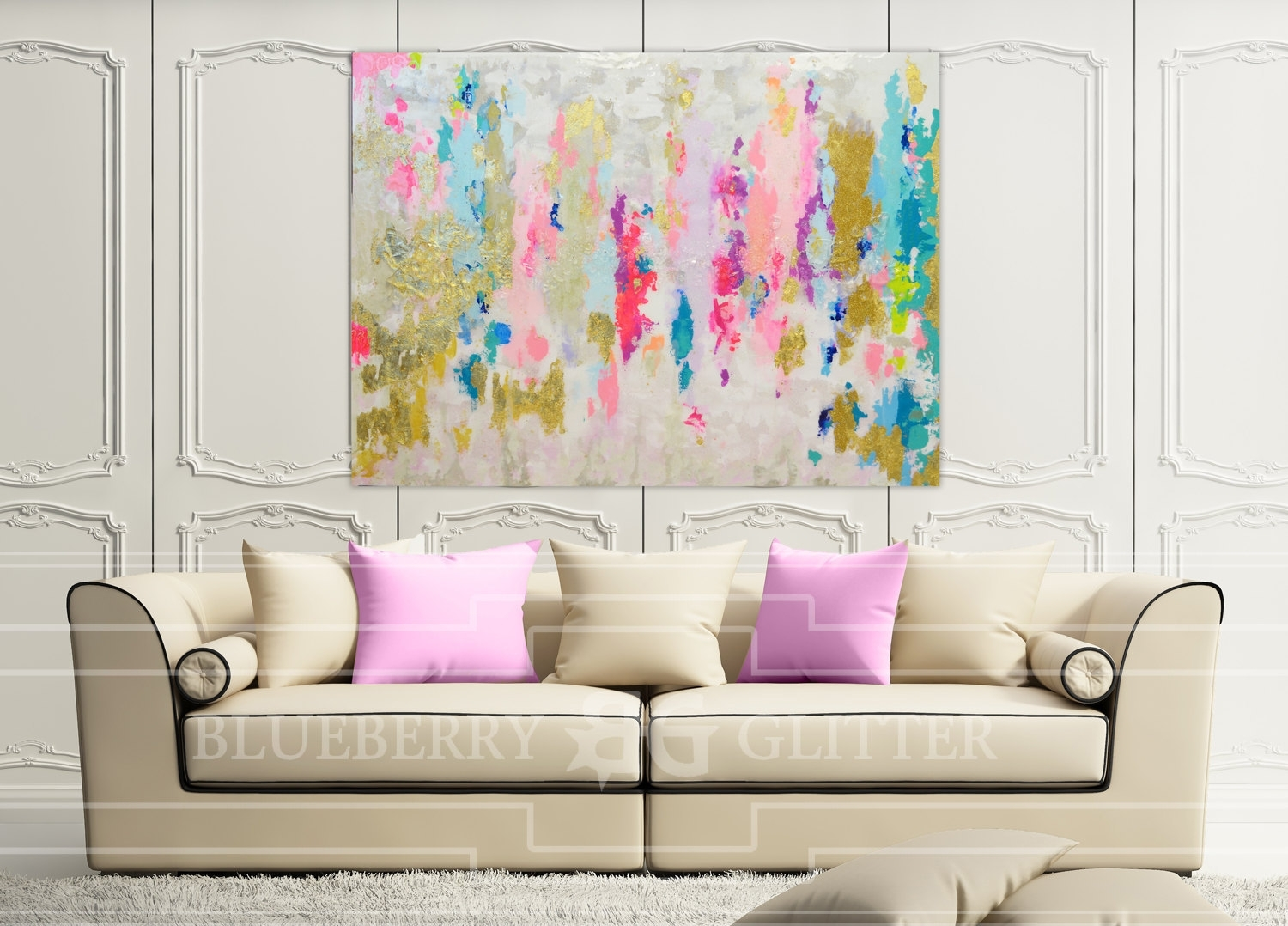Sold!! Acrylic Abstract Art Large Canvas Painting Gray, Pink With 2017 Neutral Abstract Wall Art (View 3 of 20)