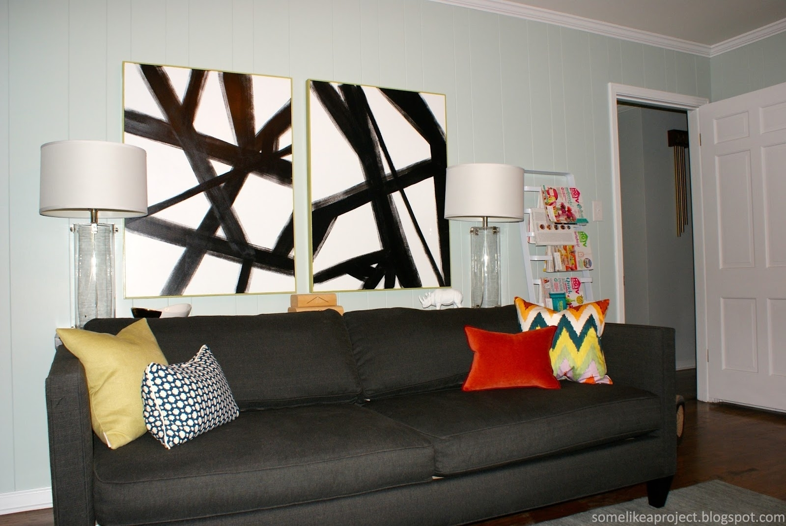 Some Like A Project: Large Diy Black & White Abstract Art In Current West Elm Abstract Wall Art (View 6 of 20)