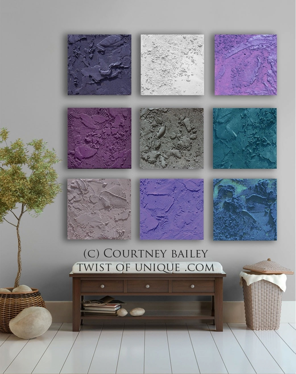 Square Abstract Painting, 9 Panel Custom Abstract Wall Art, Large Inside Most Recent Purple And Grey Abstract Wall Art (View 19 of 20)
