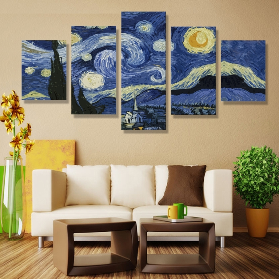 Starry Night Printed On Canvas Vincent Willem Van Gogh 5 Piece Within Best And Newest Vincent Van Gogh Multi Piece Wall Art (View 14 of 20)