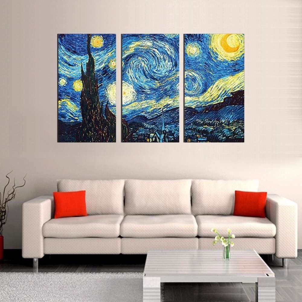 Starry Night – Vincent Van Gogh Multi Panel Canvas Wall Art Intended For Current Vincent Van Gogh Wall Art (View 17 of 20)