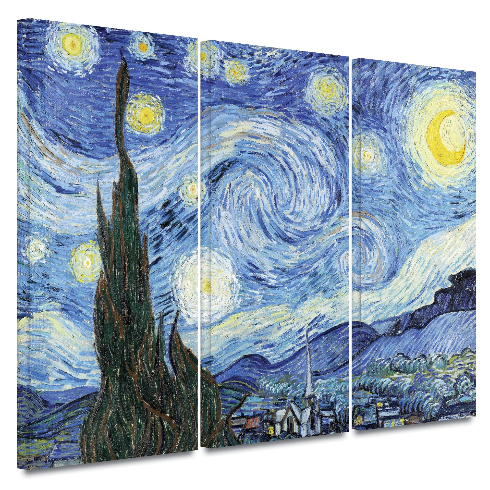 "Starry Night""vincent Van Gogh 3 Piece Painting Print On Canvas Pertaining To Current Vincent Van Gogh Multi Piece Wall Art (Gallery 3 of 20)"