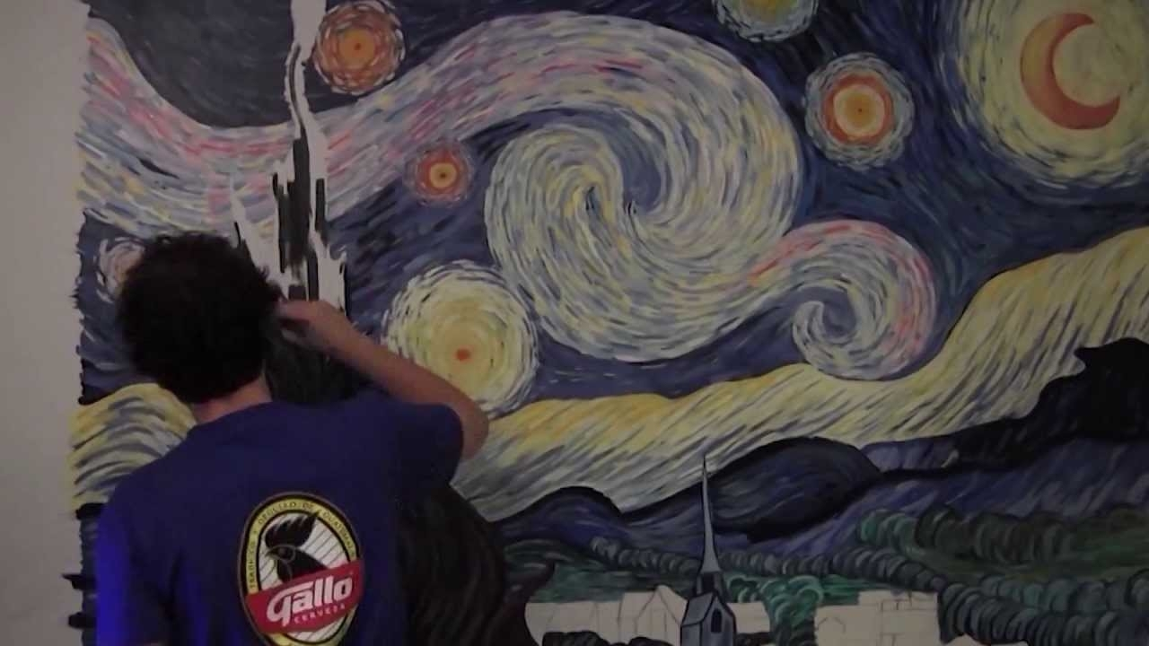 Starry Nightvincent Van Gogh  Mural Painting  (Timelapse Art Pertaining To Most Up To Date Vincent Van Gogh Wall Art (View 18 of 20)