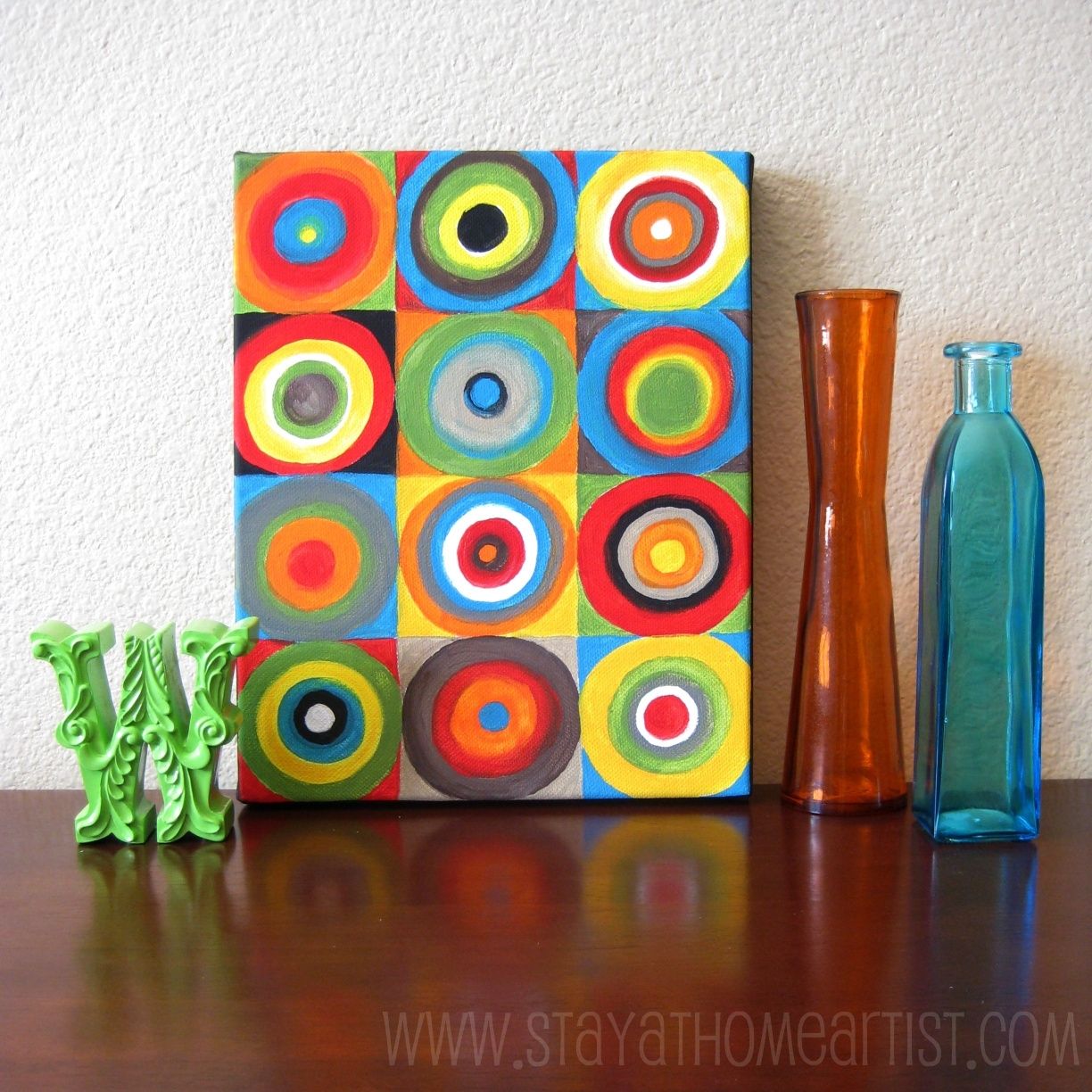 Stayathomeartist: Concentric Circles Canvas Art Throughout Best And Newest Bright Abstract Wall Art (View 17 of 20)