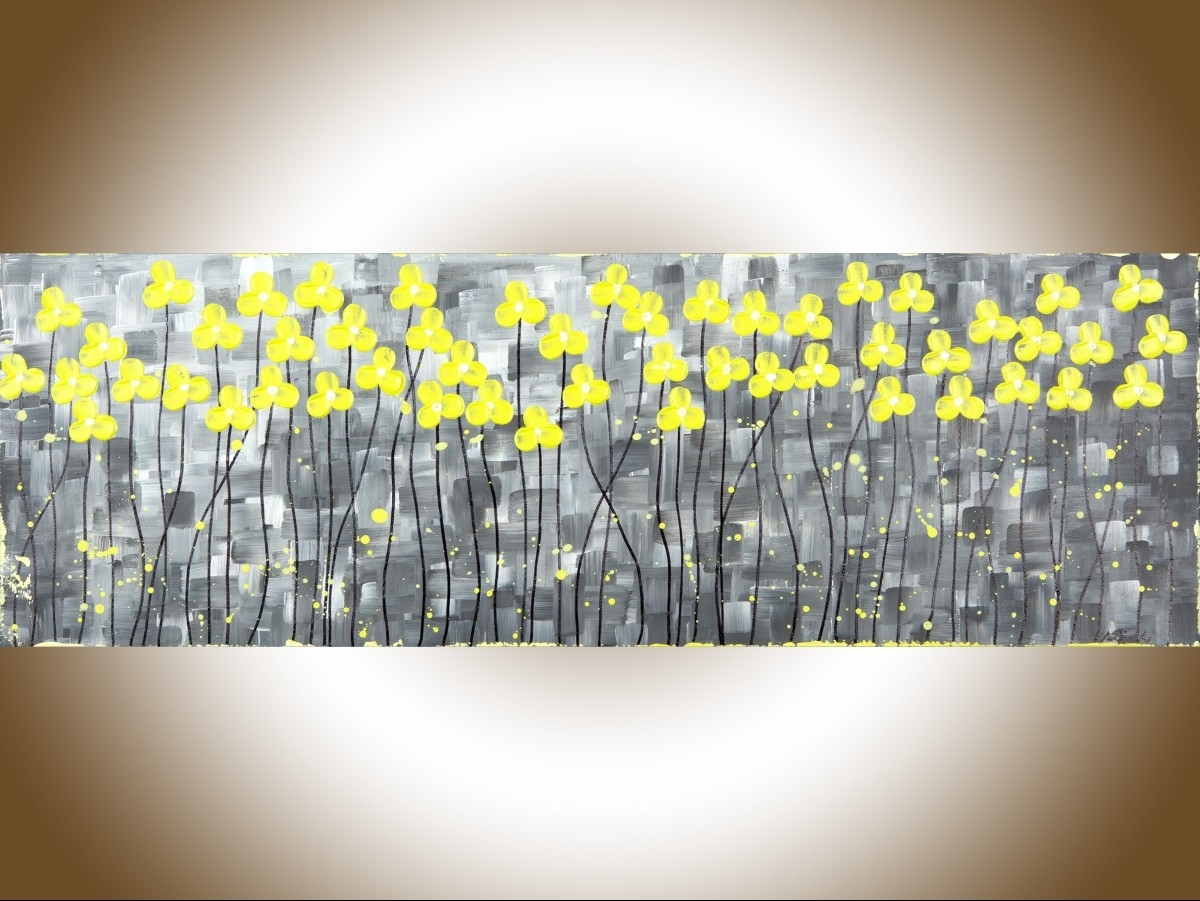 "Sunshineqiqigallery 36"" X 12"" Original Abstract Painting Gray With Most Current Yellow And Grey Abstract Wall Art (View 7 of 20)"
