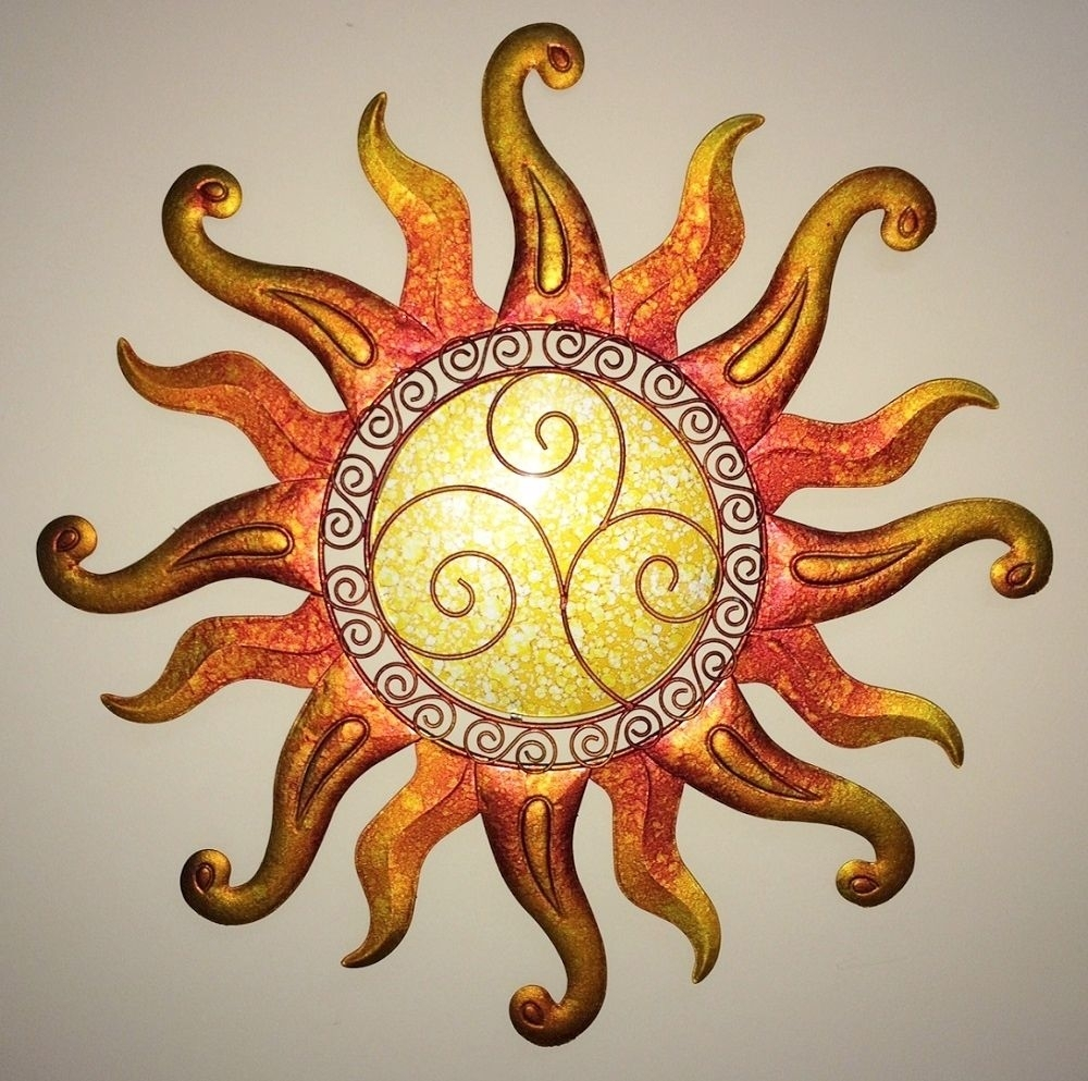 Swirl Sun Wall Art Glass & Metal Sunburst Decor Sculpture Indoor With Most Popular Abstract Garden Wall Art (View 16 of 20)
