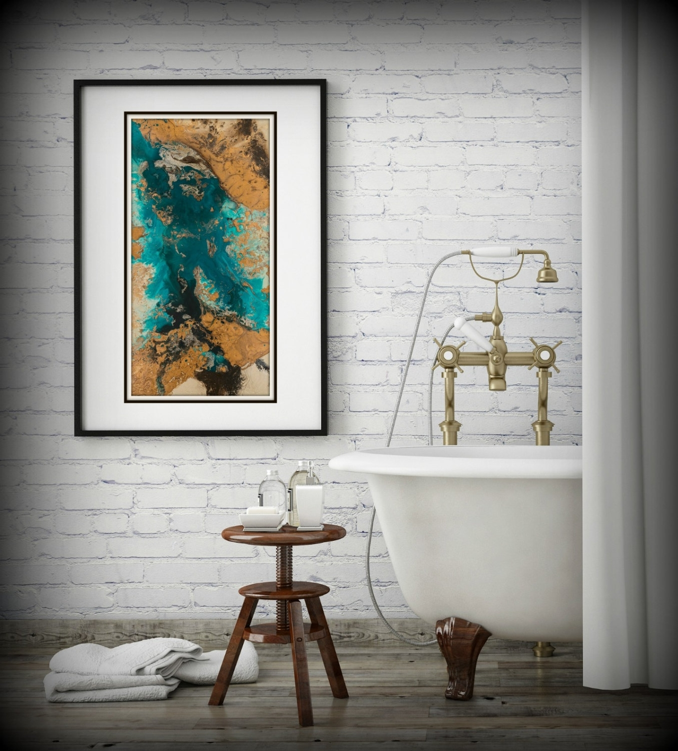 Teal And Copper Abstract Art, Large Abstract Print, Neutral Colors For Most Current Abstract Wall Art For Bathroom (View 10 of 20)