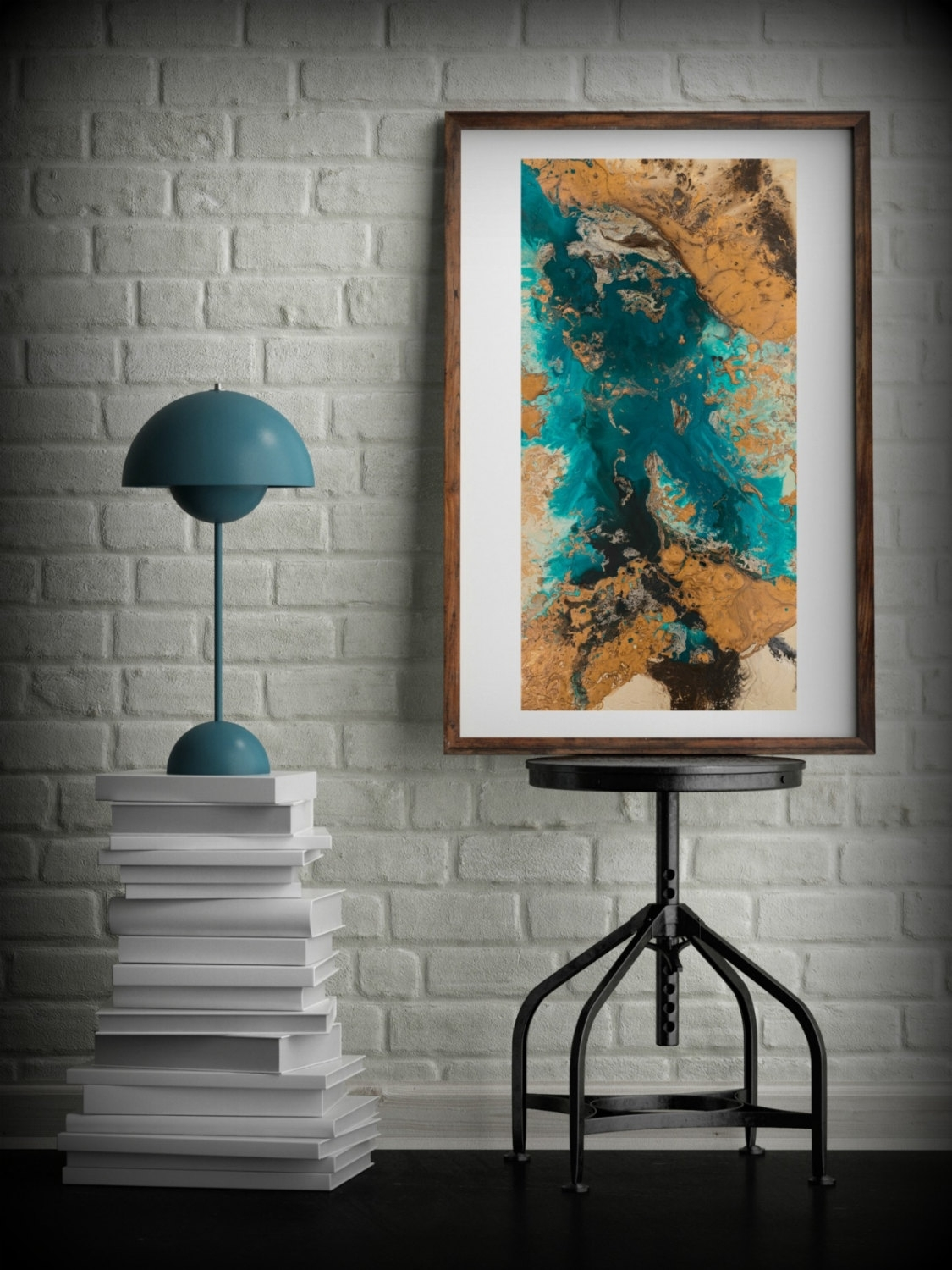 Teal And Copper Abstract Art, Large Abstract Print, Neutral Colors Intended For 2018 Big Abstract Wall Art (Gallery 16 of 20)