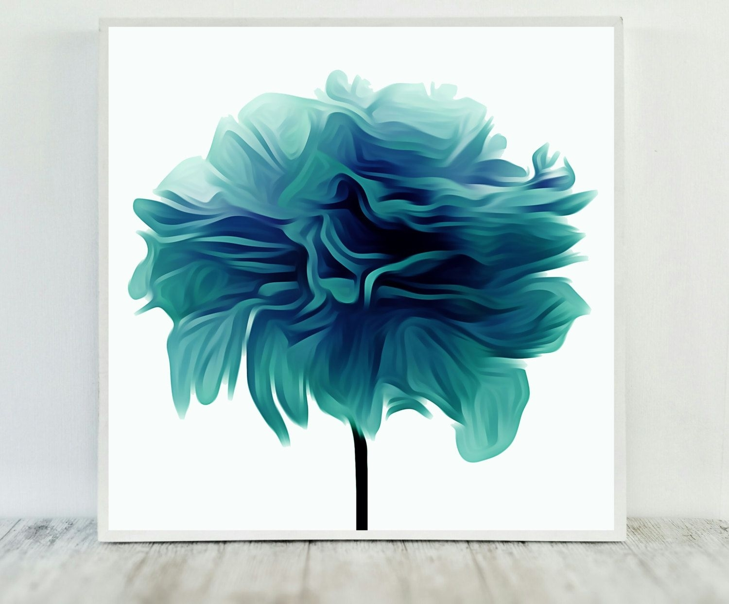Teal Flower Print, Abstract Teal Print, Flower Print Teal Inside Newest Printable Abstract Wall Art (View 5 of 20)