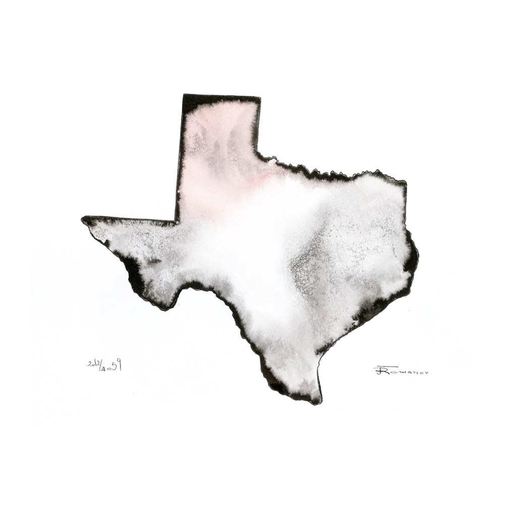 Texas Map Print Modern Contemporary Original Ink Watercolor Pertaining To Most Up To Date Limited Edition Wall Art (View 16 of 20)