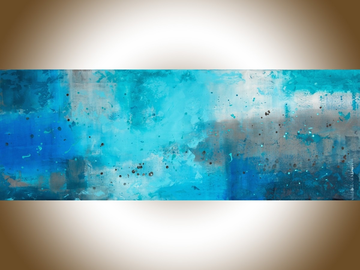 """The Mistqiqigallery 70""""x24"""" Un Stretched Canvas Original Regarding Recent Blue And Brown Abstract Wall Art (Gallery 10 of 20)"""