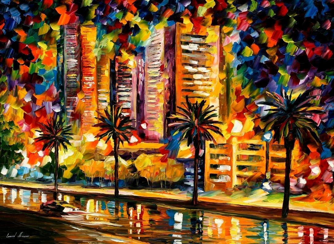 The Night Lights Of Miami — Palette Knife Oil Painting On Canvas Pertaining To Most Recent Light Abstract Wall Art (View 12 of 20)