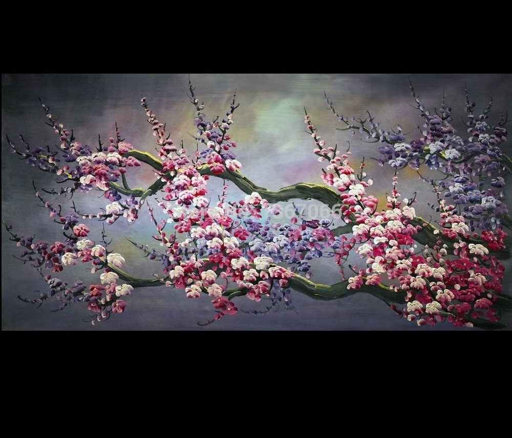 There Frame Abstract Art Wall Painting Wall Art Japanese Cherry Within 2018 Abstract Cherry Blossom Wall Art (Gallery 14 of 20)