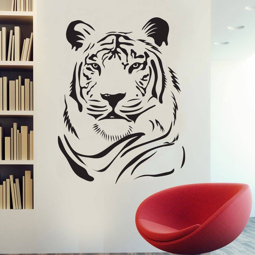 Tiger Wall Sticker Wild African Animal Tiger Head Pvc Wall Art Regarding Most Popular African Animal Wall Art (View 18 of 20)