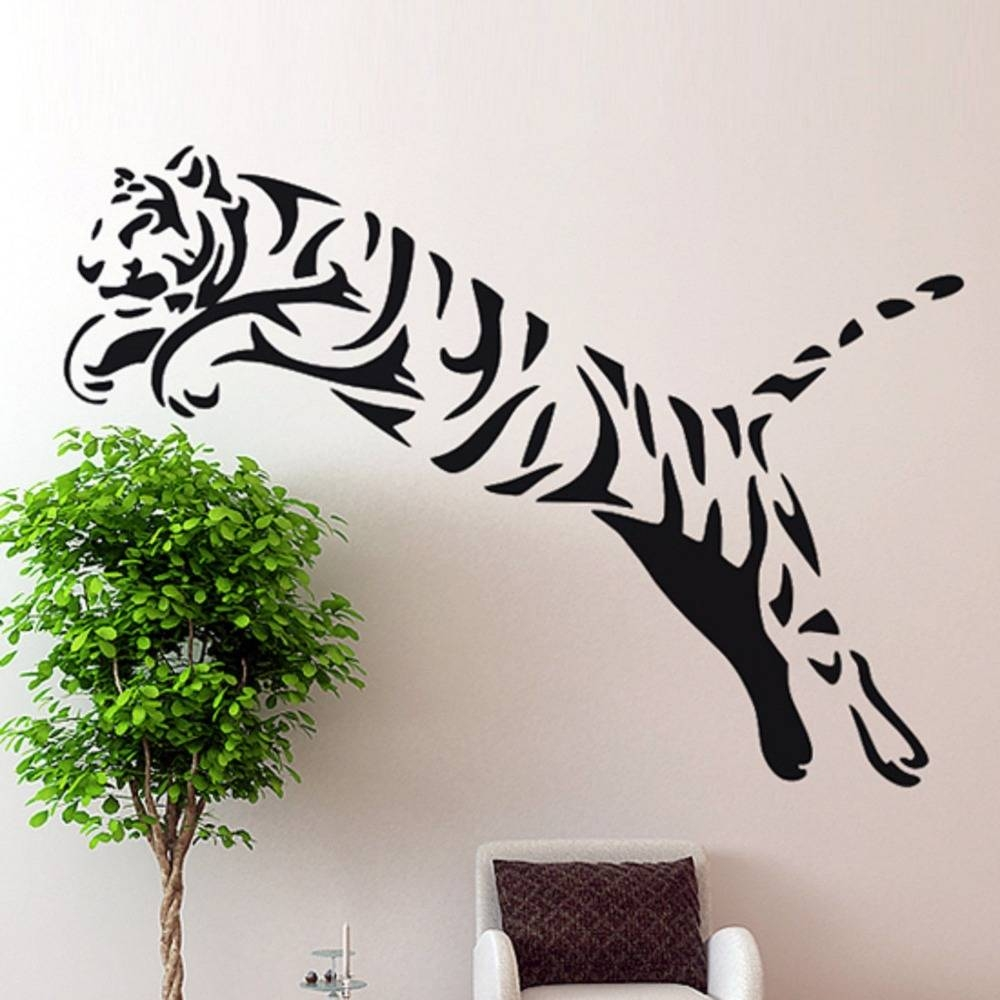 Tiger Wall Sticker Wild Cheetah Cat African Animal Tiger Wall Art Pertaining To Most Recently Released African animal Wall Art (View 13 of 20)