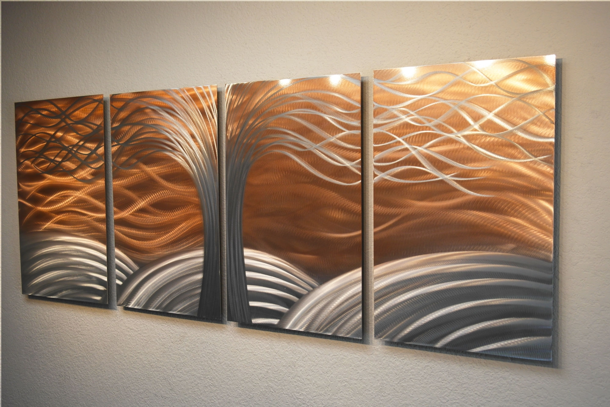 Tree Of Life Bright Copper – Metal Wall Art Abstract Sculpture Intended For Most Recent Bright Abstract Wall Art (View 11 of 20)