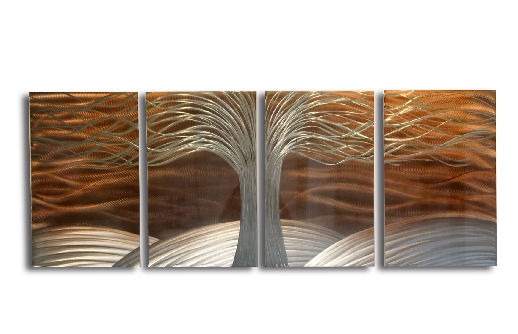 Tree Of Life Burnt Copper  Metal Wall Art Abstract Contemporary For Most Recent Abstract Leaf Metal Wall Art (View 16 of 20)