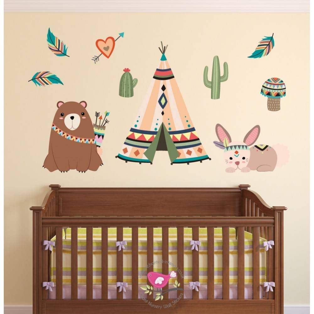 Tribal Animal Nursery Wall Art Stickers In Most Popular Animal Wall Art Stickers (Gallery 19 of 20)