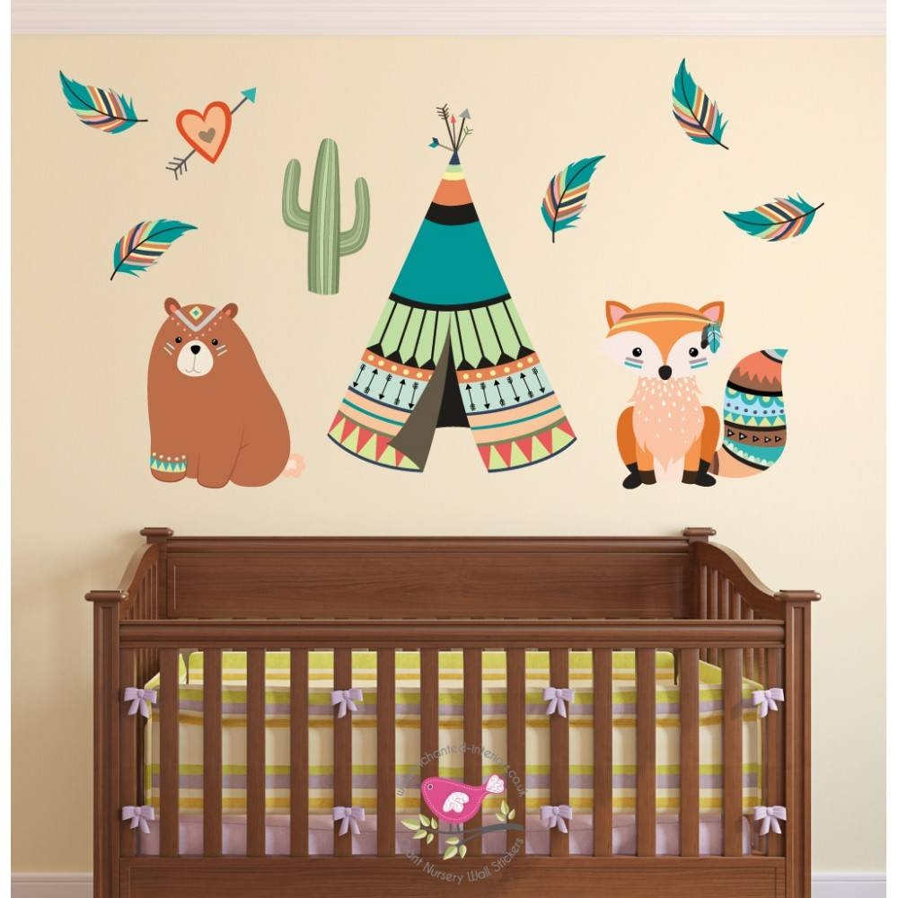 Tribal Animal Nursery Wall Art Stickers With Regard To Most Popular Woodland Animal Wall Art (View 9 of 20)