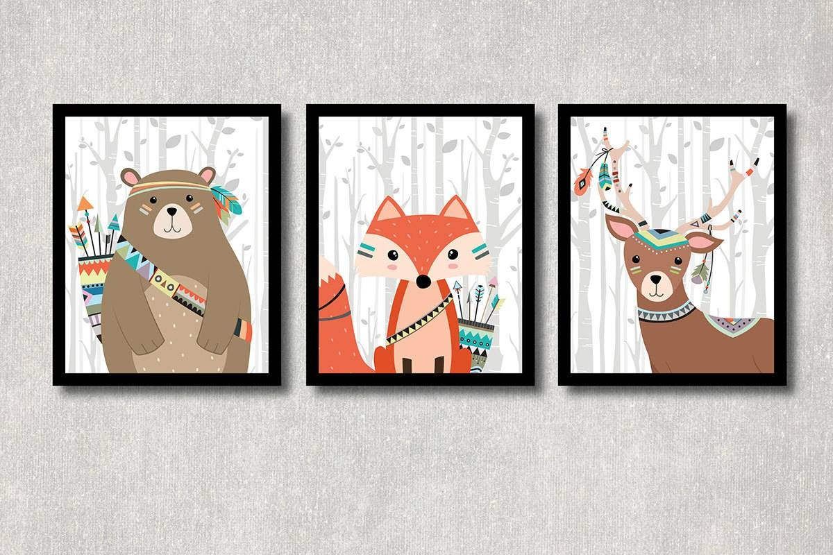 Tribal Animals Set Printable Nursery Wall Decor Woodland Within Most Recently Released Woodland Animal Wall Art (View 10 of 20)