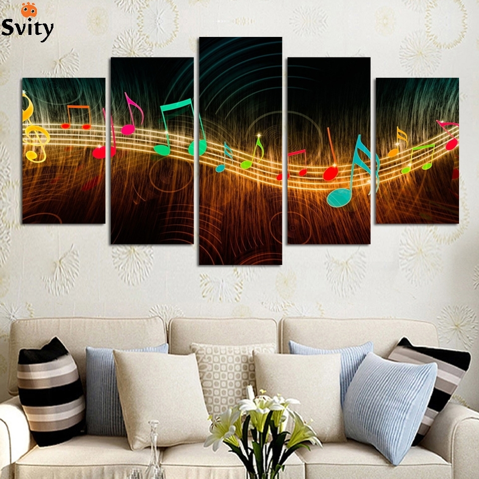 Unframed Painting On Canvas Abstract Music Notation Pictures Home In Most Recently Released Abstract Music Wall Art (View 14 of 20)