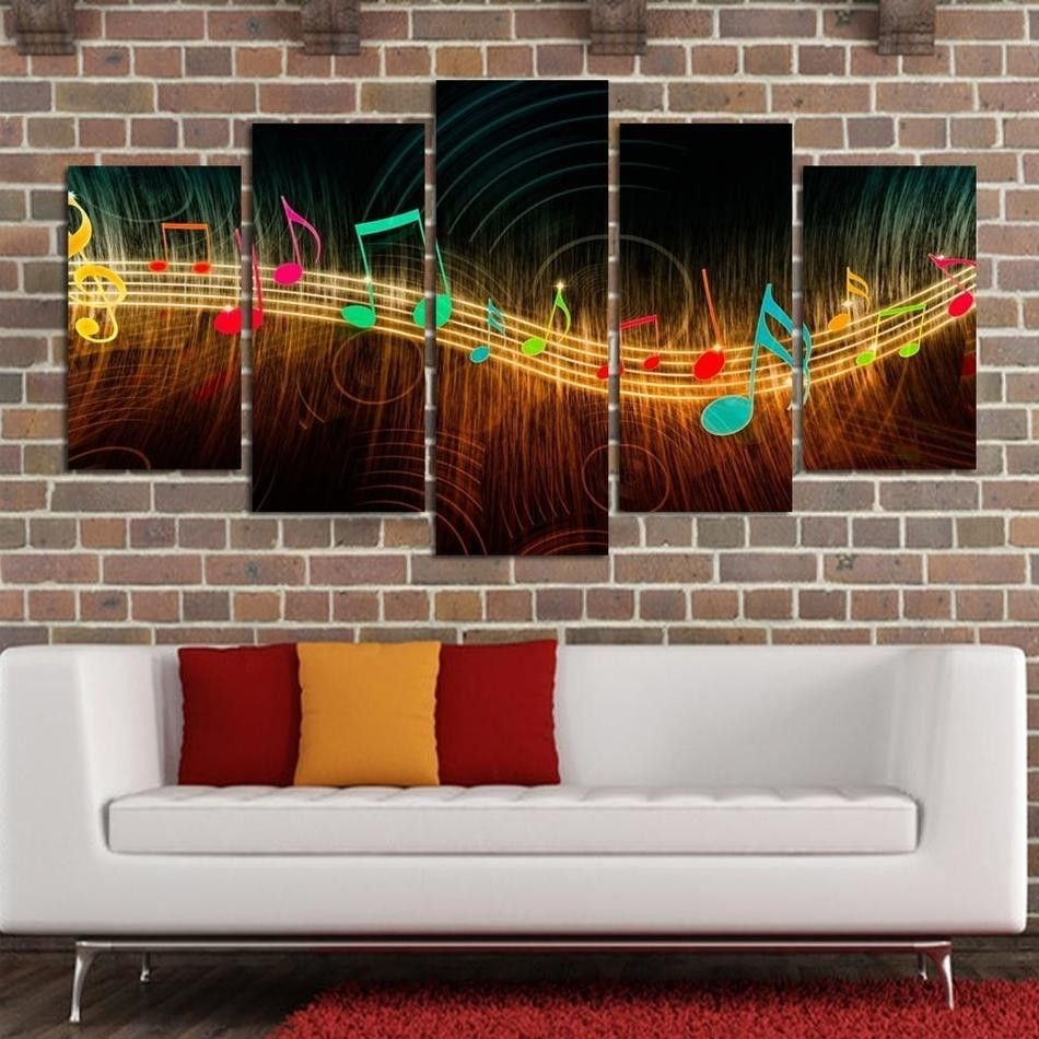 Unframed Painting On Canvas Abstract Music Notation Pictures Home Regarding Most Popular Abstract Music Wall Art (Gallery 15 of 20)