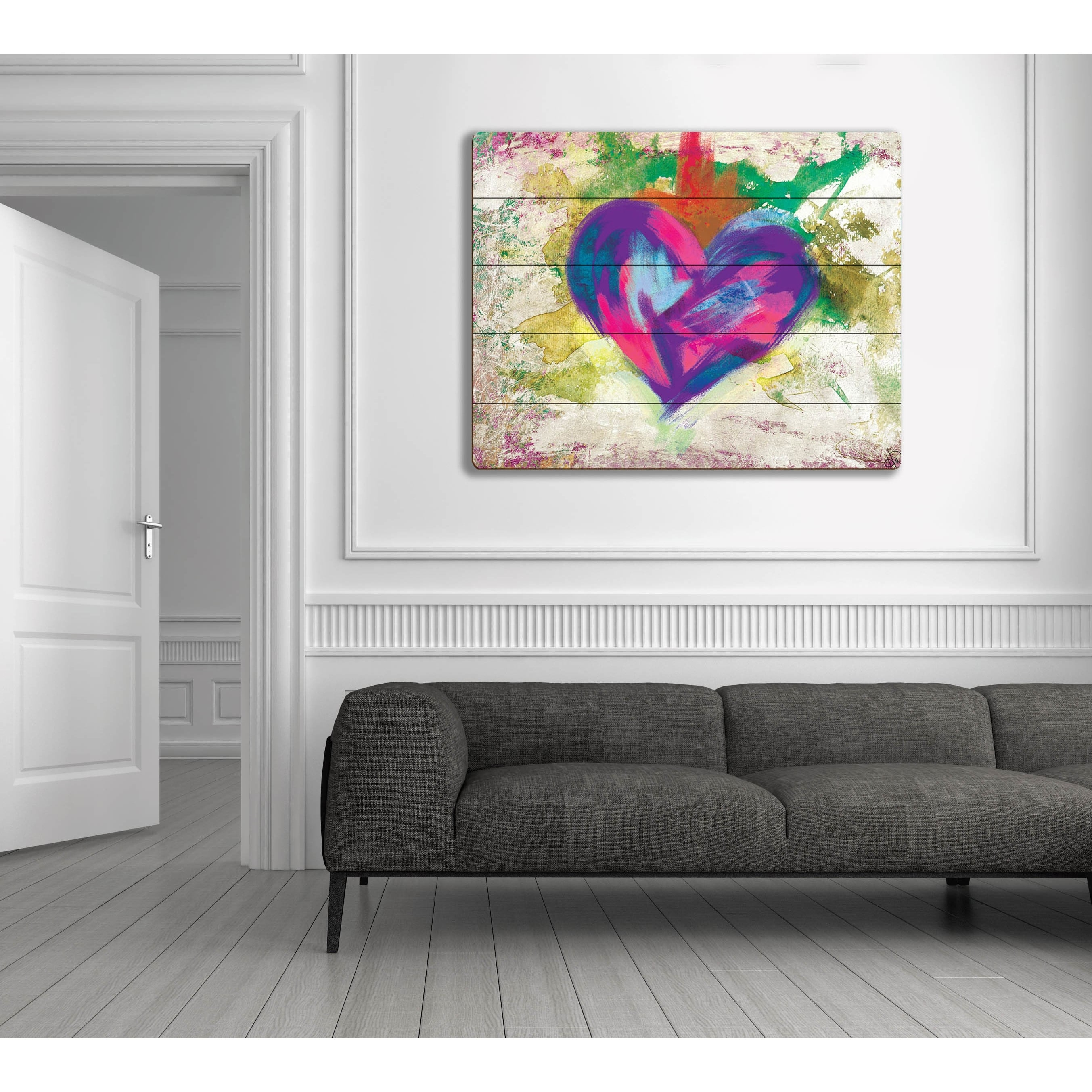 Up Beat Violet Abstract Heart Wall Art On Wood – Free Shipping For Best And Newest Abstract Heart Wall Art (View 7 of 20)