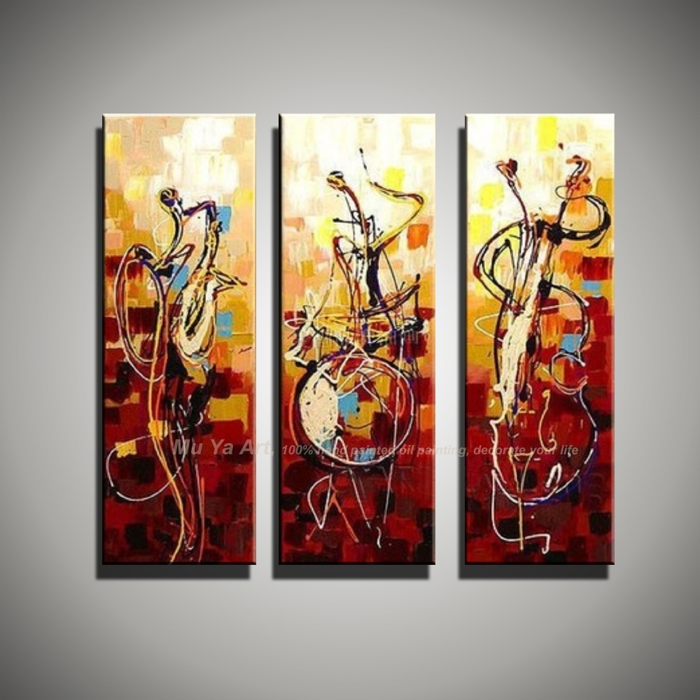 Vertical Music Art Knife Painting Canvas Abstract Modern 3 Piece Pertaining To Recent Abstract Music Wall Art (Gallery 13 of 20)