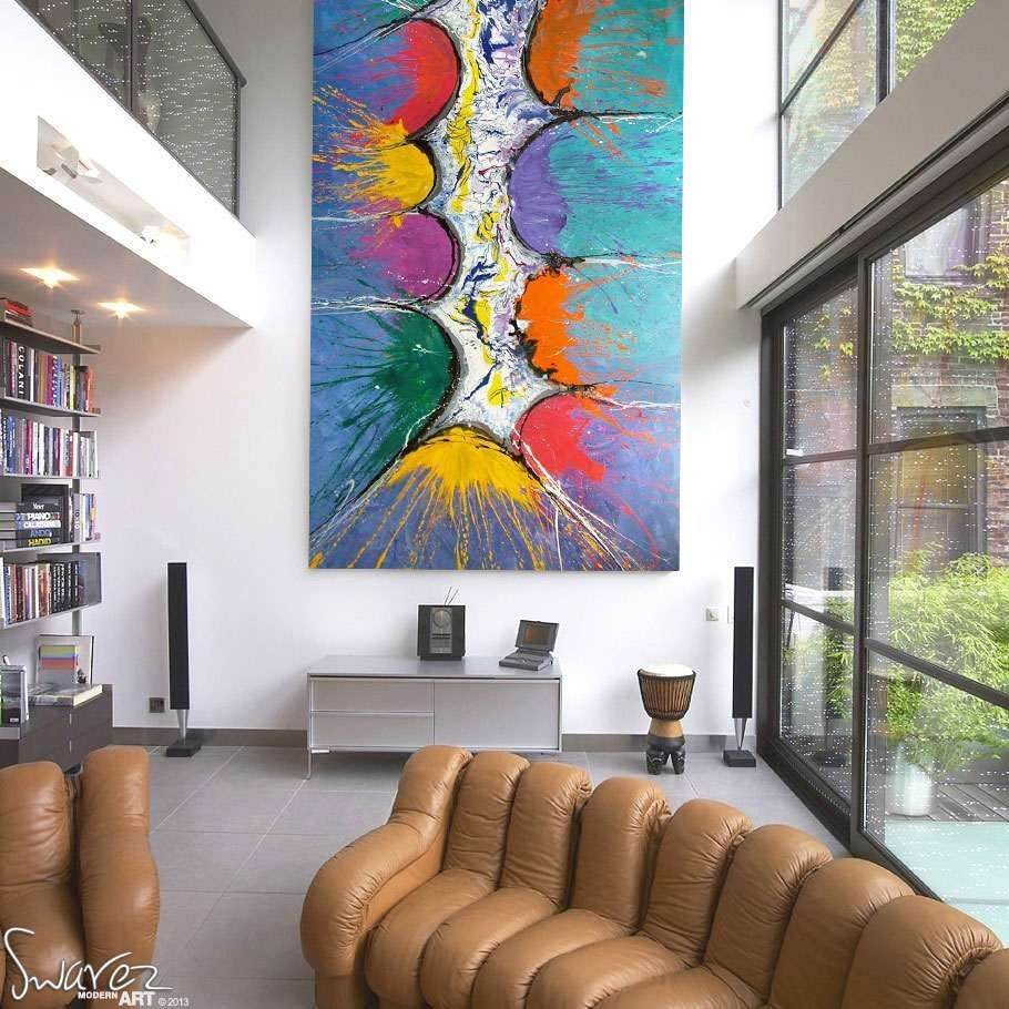 Very Big Abstract Canvas Painting | Large Size Multi Coloured Art Pertaining To Most Current Giant Abstract Wall Art (Gallery 4 of 20)