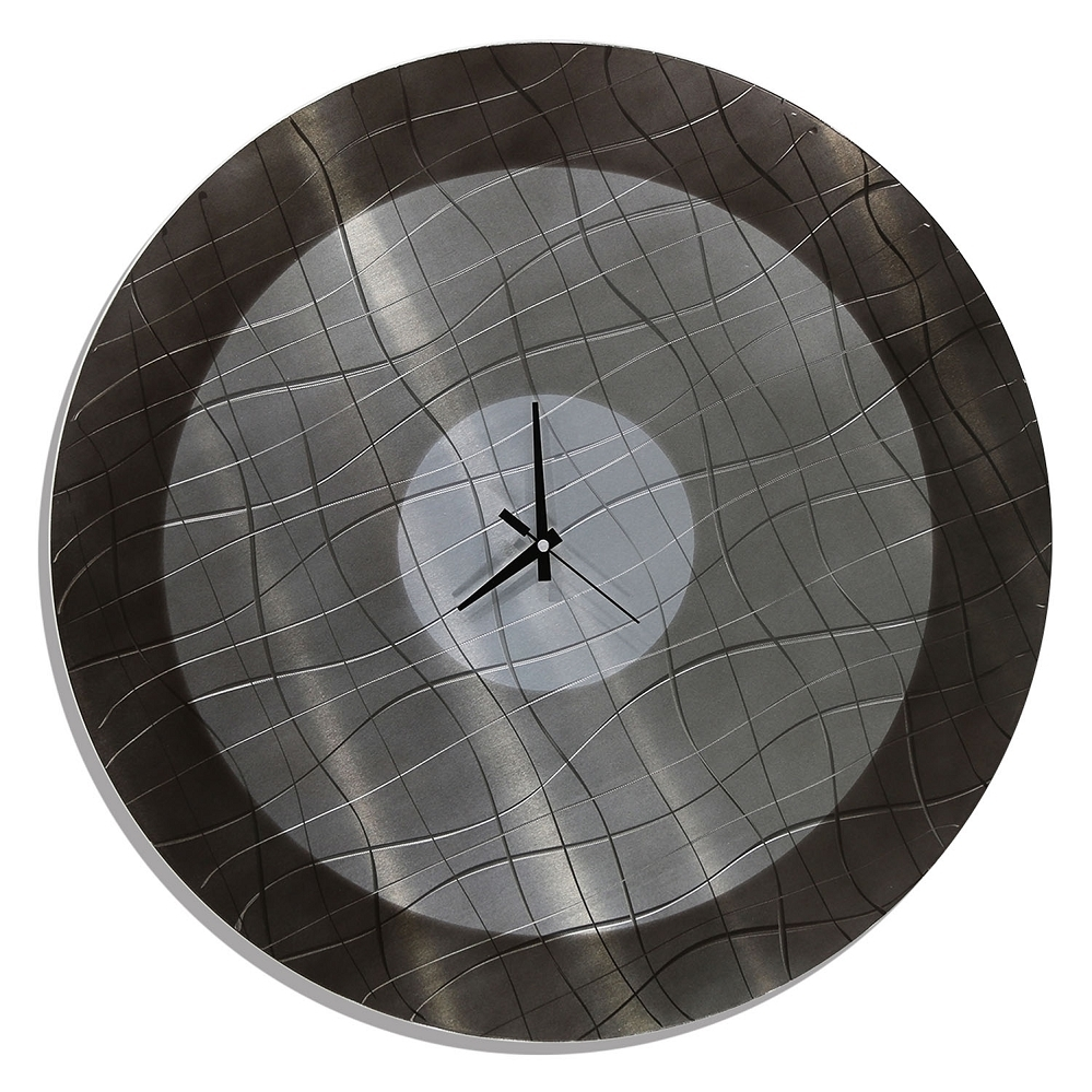 Vibrations In Charcoal - Functional Mid-Century Modern Metal Wall with Most Up-to-Date Abstract Metal Wall Art With Clock