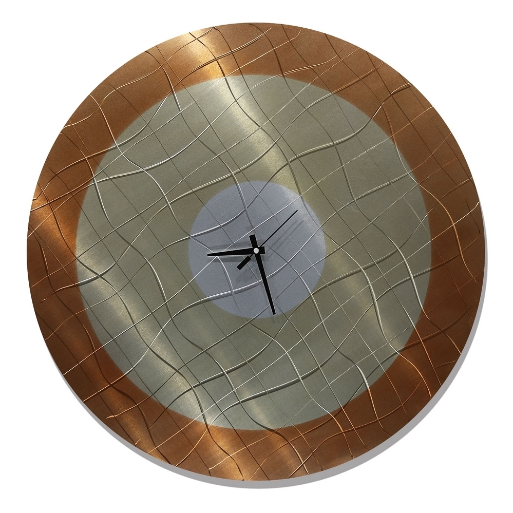 Vibrations In Smoke - Functional Mid-Century Modern Metal Wall Art with Most Recently Released Abstract Metal Wall Art With Clock