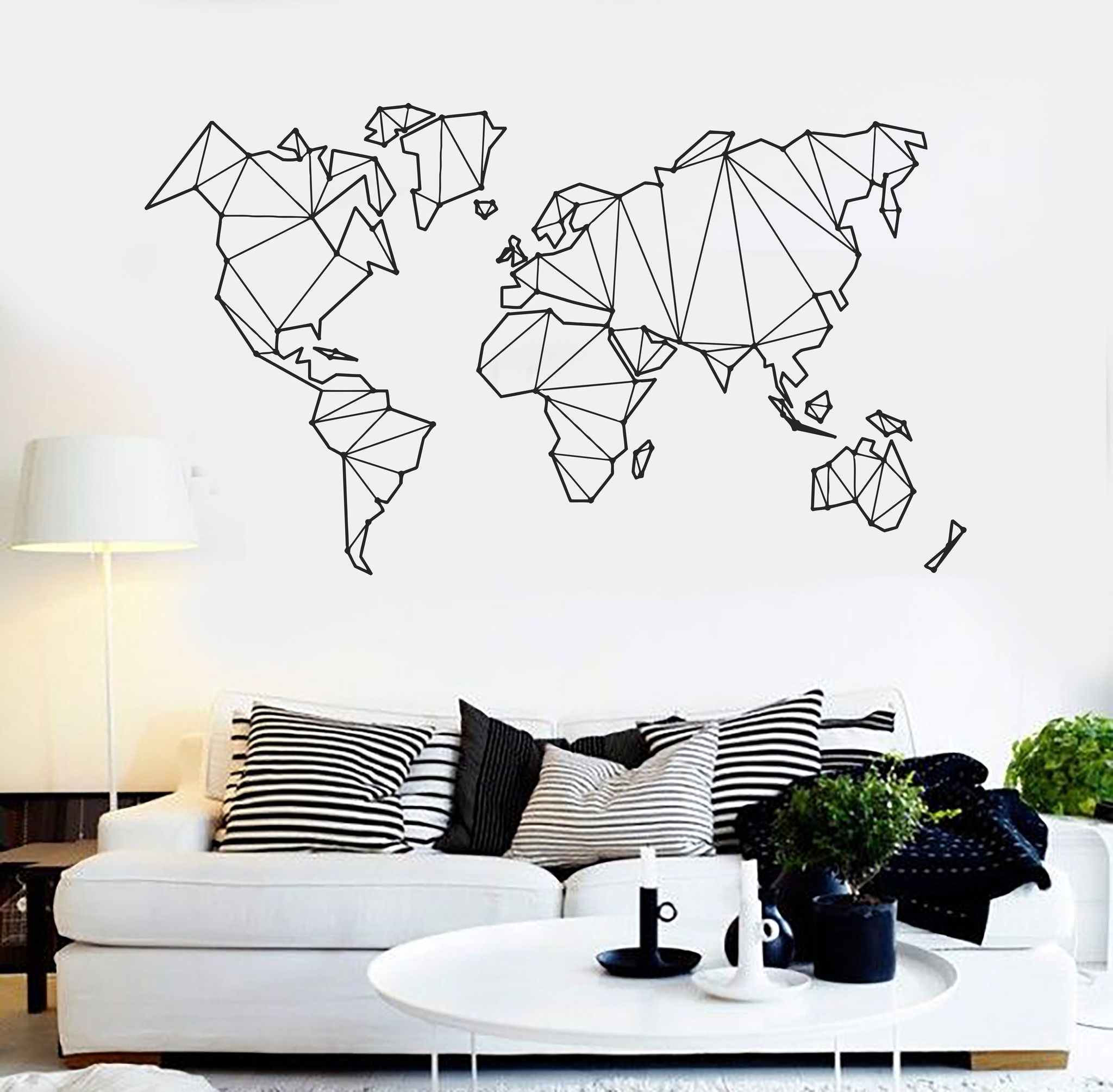 Vinyl Wall Decal Abstract Map World Geography Earth Stickers throughout Most Popular Abstract Art Wall Decal