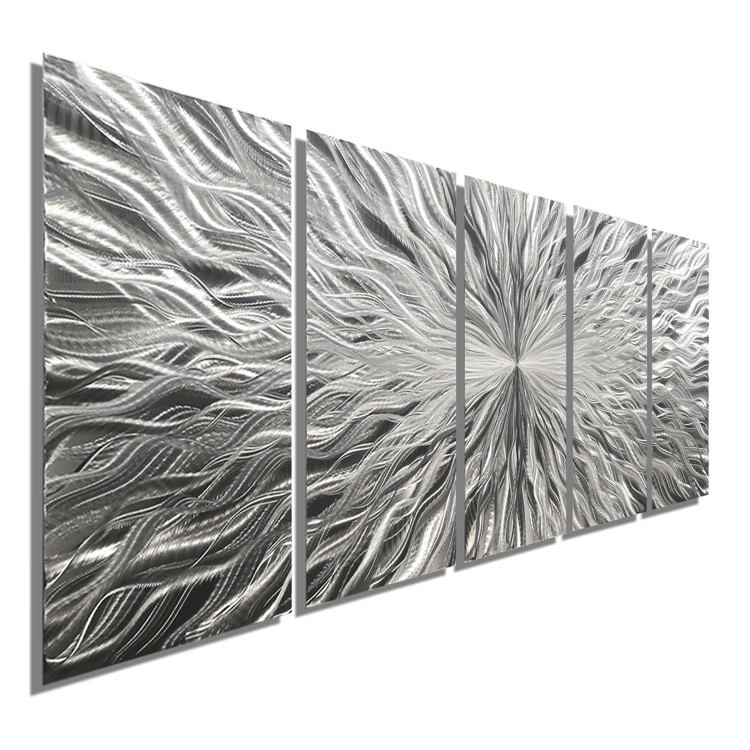 Vortex 5 - Five Panel Silver Modern Abstract Metal Wall Artjon with Most Recent Abstract Metal Wall Art Panels