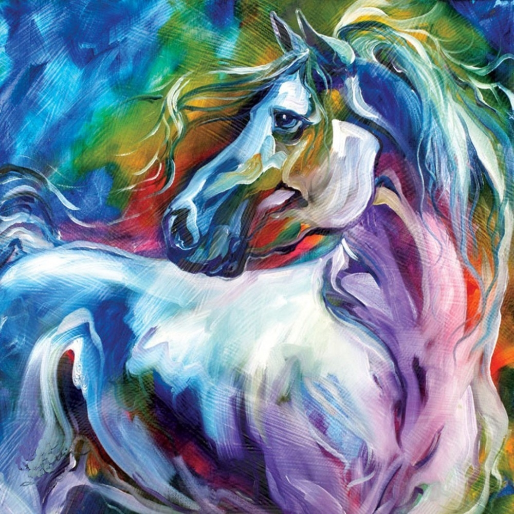Wall Art 100% Handpainted Modern Abstract Horse Pictures On Canvas For Most Popular Abstract Horse Wall Art (View 17 of 20)
