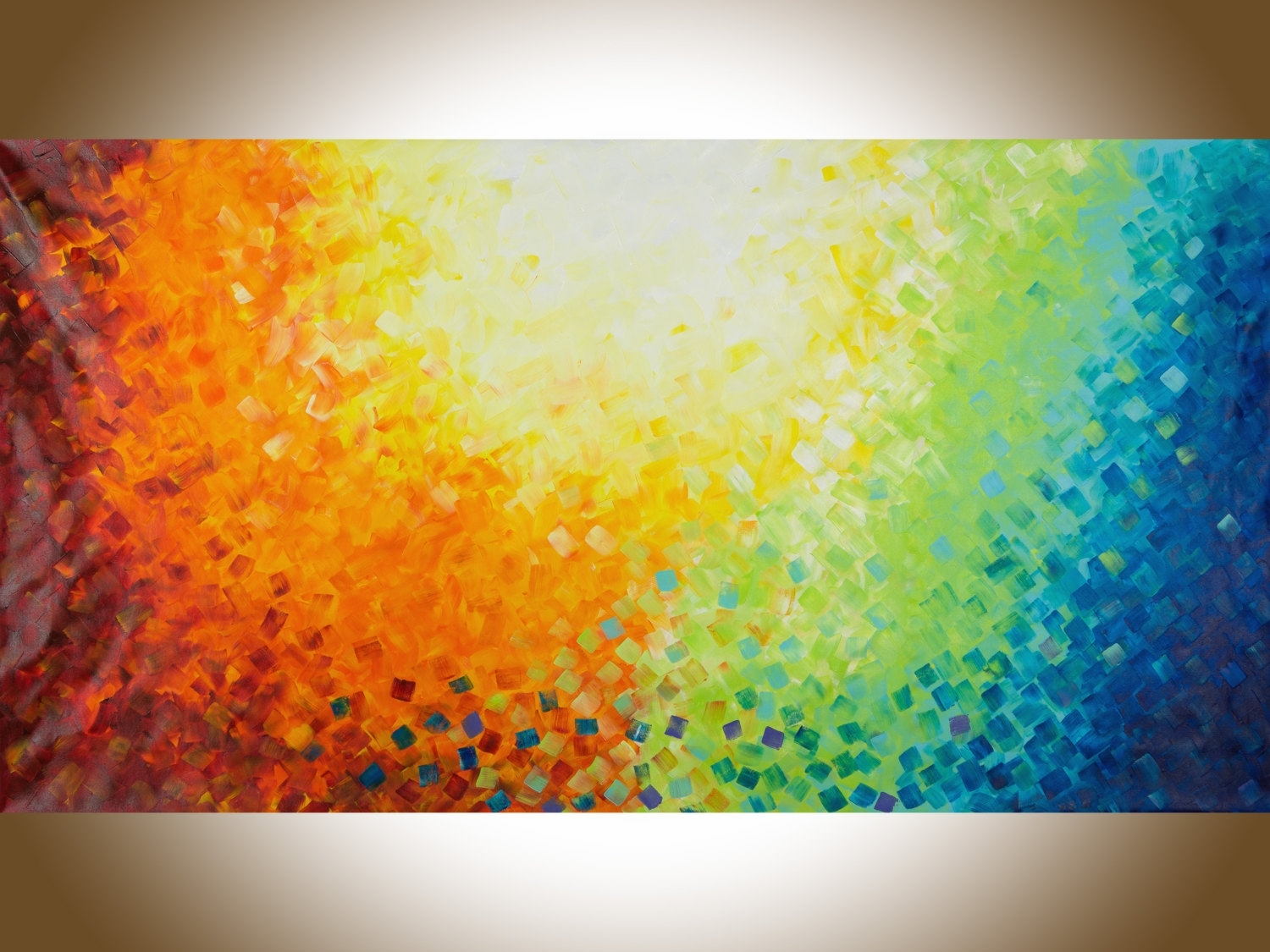 "Wall Art 60""colourful Abstract Art Red Yellow Orange Blue Green With Most Up To Date Green Abstract Wall Art (View 19 of 20)"