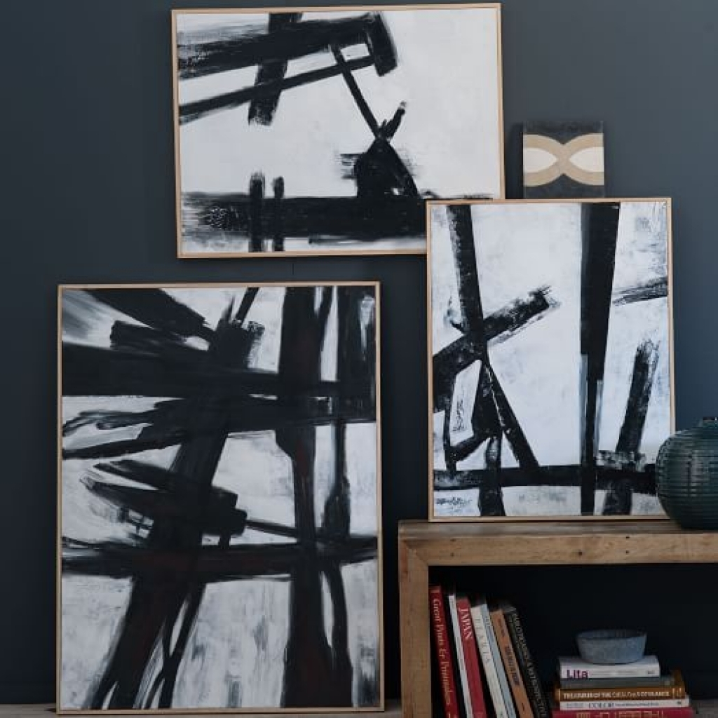 Wall Art Black Abstract Black White Wall Art West Elm Designs In Most Recently Released West Elm Abstract Wall Art (View 19 of 20)