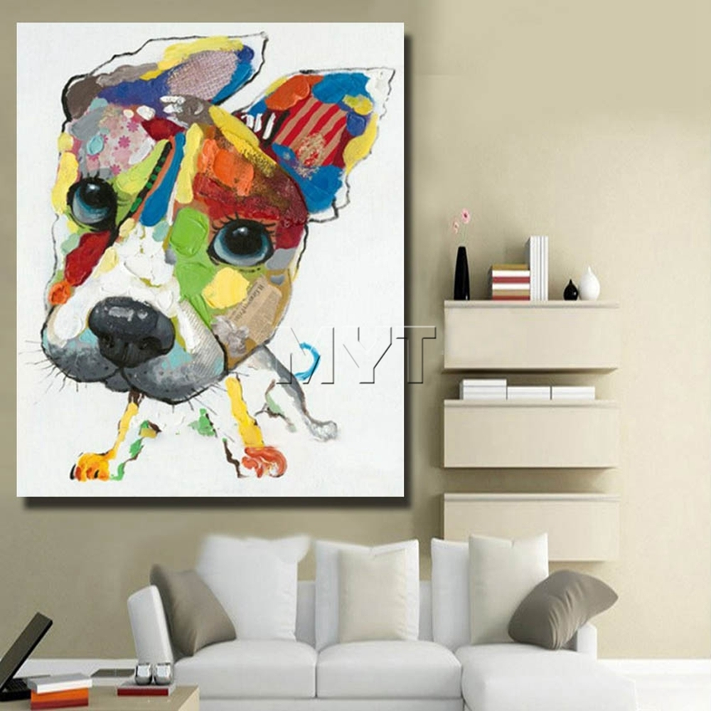 Wall Art Canvas Abstract Dog Painting Home Decor Living Room Decor Inside Current Abstract Dog Wall Art (View 5 of 20)