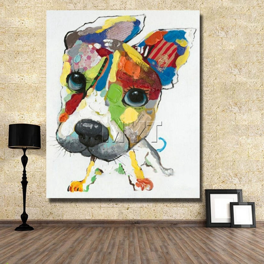 Wall Art Canvas Abstract Dog Painting Home Decor Living Room Decor Inside Most Popular Abstract Dog Wall Art (View 17 of 20)