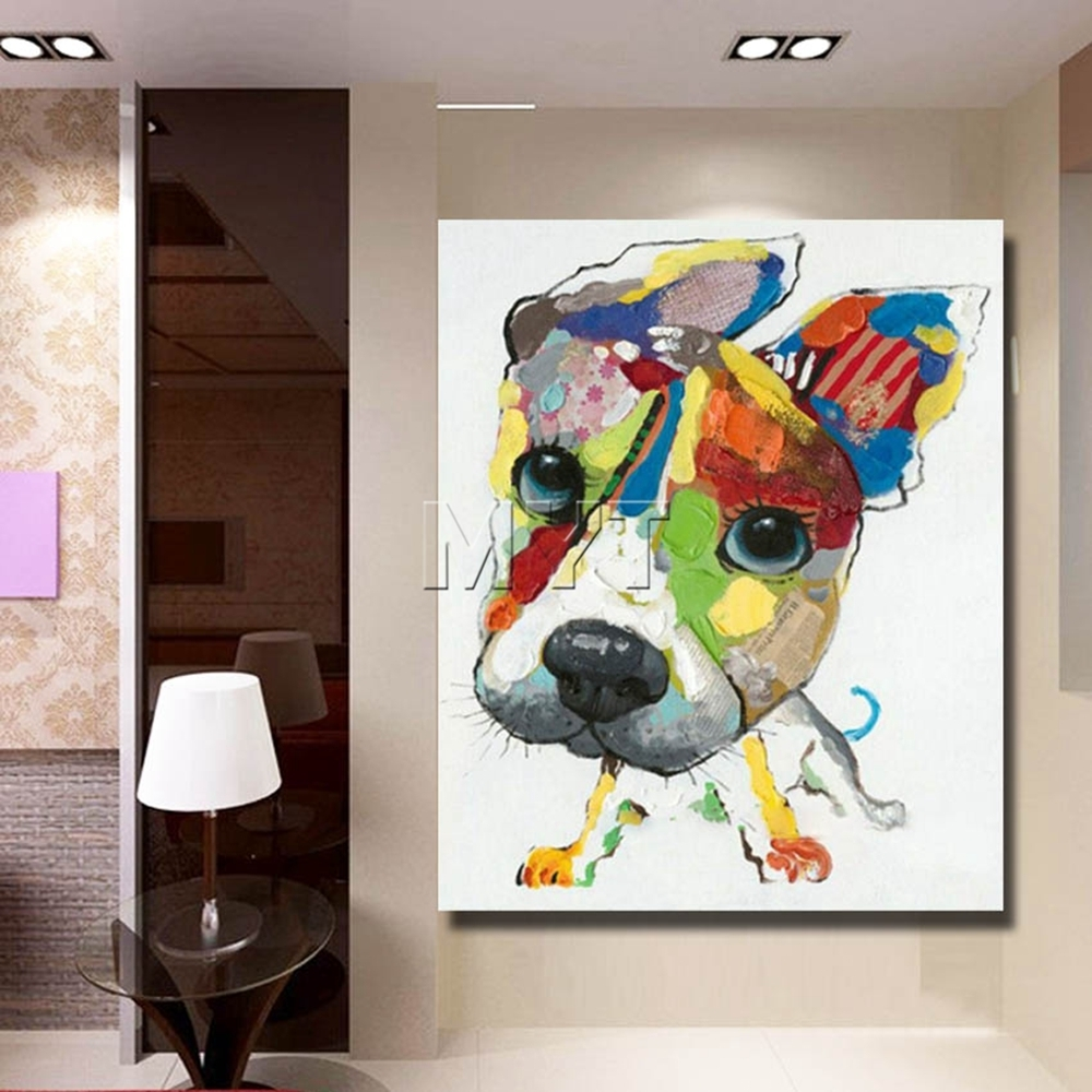 Wall Art Canvas Abstract Dog Painting Home Decor Living Room Decor Regarding Most Recent Abstract Dog Wall Art (View 8 of 20)